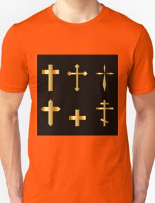 golden christian crosses in different designs  T-Shirt