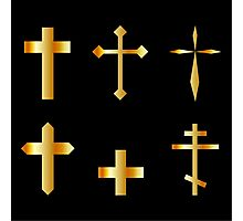 golden christian crosses in different designs  Photographic Print