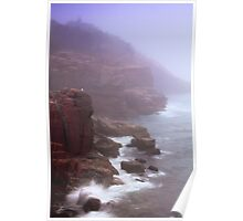 Rugged Seacoast in White Mist Poster