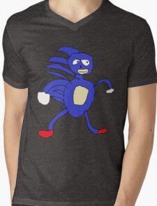 Sanic,Sonic The Hedgehog Mens V-Neck T-Shirt
