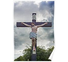 large crucifix in a graveyard Poster