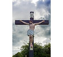 large crucifix in a graveyard Photographic Print