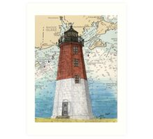 Pt Judith Lighthouse RI Nautical Chart Cathy Peek Art Print