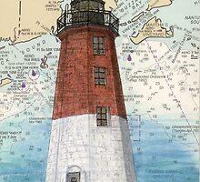 Pt Judith Lighthouse RI Nautical Chart Cathy Peek by Cathy Peek