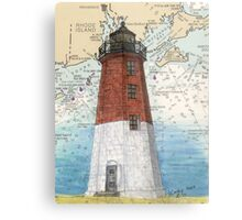 Pt Judith Lighthouse RI Nautical Chart Cathy Peek Metal Print