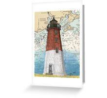 Pt Judith Lighthouse RI Nautical Chart Cathy Peek Greeting Card