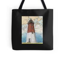 Pt Judith Lighthouse RI Nautical Chart Cathy Peek Tote Bag