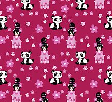 Cute Geisha and Panda Pattern by SaradaBoru