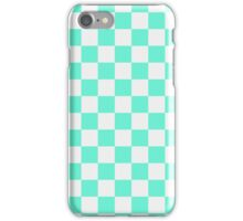Checkered White and Aqua Pattern iPhone Case/Skin