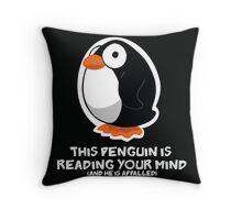 Telepathic Penguin Throw Pillow