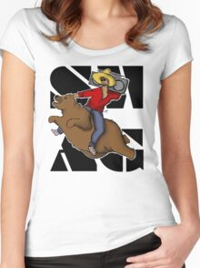 Kanye .. on a flying bear? Women's Fitted Scoop T-Shirt