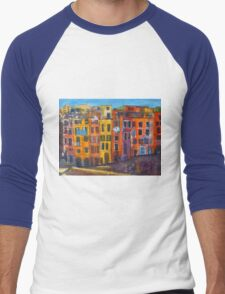 Riomaggiore Facade, CinqueTerre Men's Baseball ¾ T-Shirt