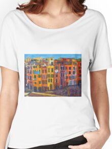Riomaggiore Facade, CinqueTerre Women's Relaxed Fit T-Shirt