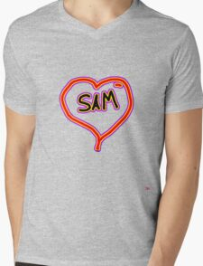 i love SAM heart  Mens V-Neck T-Shirt