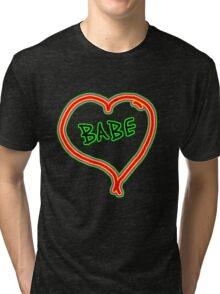 I LOVE babe heart  Tri-blend T-Shirt