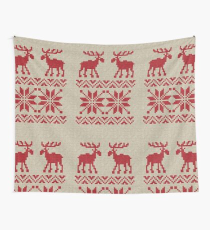 Moose Pattern Christmas Sweater Knit Wall Tapestry