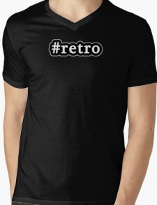 Retro - Hashtag - Black & White Mens V-Neck T-Shirt