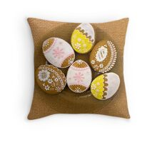 Easter Eggs, Gingerbread Cookies - Yellow Pink  Throw Pillow