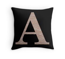 Letter A Metallic Look Stripes Silver Gold Copper Throw Pillow