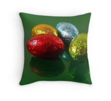 Foil Wrapped Easter Eggs - Yellow Blue Green Throw Pillow