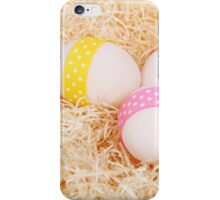 Easter Eggs, Ribbons, Dots, Hay - Yellow Pink  iPhone Case/Skin