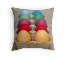 Painted Easter Eggs - Green Yellow Purple Throw Pillow