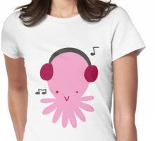 Pink Headphones Octopus Womens Fitted T-Shirt