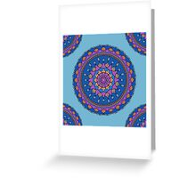 Blue Pink Orange Boho Mandala Greeting Card