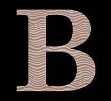 Letter B Metallic Look Stripes Silver Gold Copper by theartofvikki