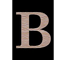 Letter B Metallic Look Stripes Silver Gold Copper Photographic Print