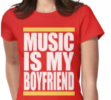 Music Is My Boyfriend (White) Womens Fitted T-Shirt
