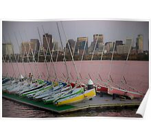 Canoes, MIT boat house, Boston MA Poster