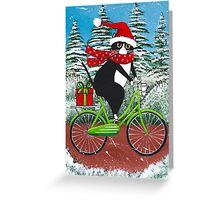Winter Cat Bicycle Ride Greeting Card