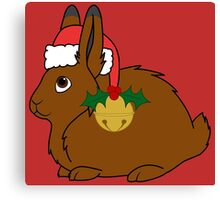 Brown Arctic Hare with Red Santa Hat, Holly & Gold Bell Canvas Print