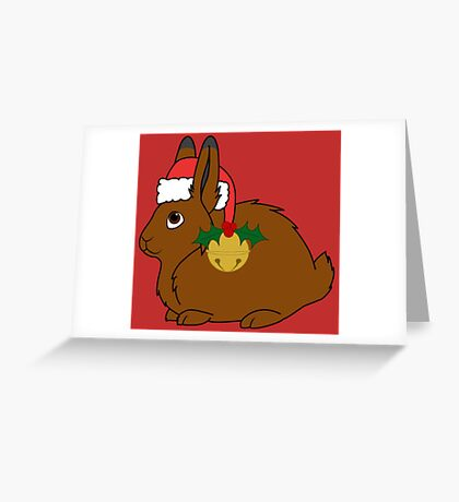 Brown Arctic Hare with Red Santa Hat, Holly & Gold Bell Greeting Card