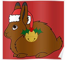 Brown Arctic Hare with Red Santa Hat, Holly & Gold Bell Poster