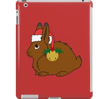 Brown Arctic Hare with Red Santa Hat, Holly & Gold Bell iPad Case/Skin