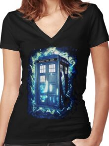 Dr Who Tardis - British Police Box Lost In Space Women's Fitted V-Neck T-Shirt