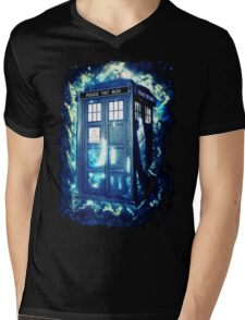 Dr Who Tardis - British Police Box Lost In Space Mens V-Neck T-Shirt