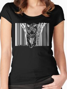 WHITE TIGER BARCODE  Women's Fitted Scoop T-Shirt