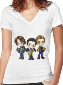 Supernatural cartoon trio Women's Fitted V-Neck T-Shirt