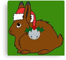 Brown Arctic Hare with Red Santa Hat, Holly & Silver Bell Canvas Print