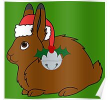 Brown Arctic Hare with Red Santa Hat, Holly & Silver Bell Poster