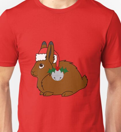 Brown Arctic Hare with Red Santa Hat, Holly & Silver Bell Unisex T-Shirt