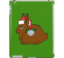 Brown Arctic Hare with Red Santa Hat, Holly & Silver Bell iPad Case/Skin