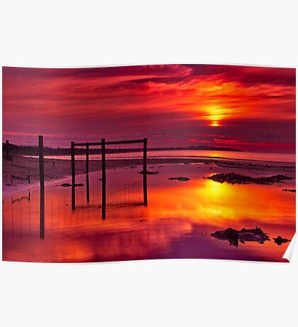 """Red Morning At Fisherman's Beach"" Poster"