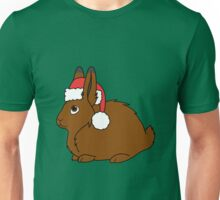 Brown Arctic Hare with Christmas Red Santa Hat Unisex T-Shirt