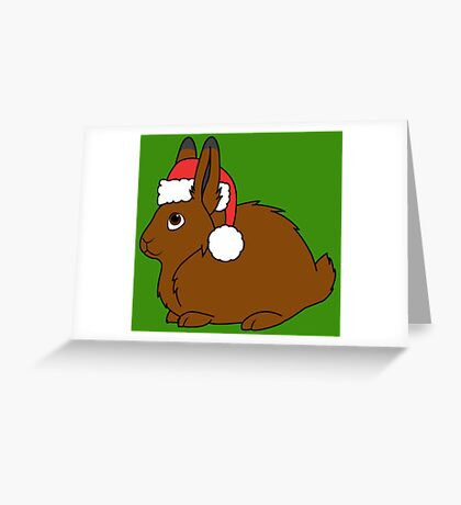 Brown Arctic Hare with Christmas Red Santa Hat Greeting Card