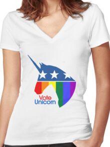 Vote Unicorn Women's Fitted V-Neck T-Shirt