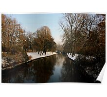 Snowy river in Bruges Poster
